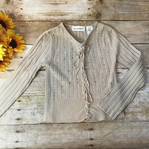 K. C. Parker tan Sequin And bead sweater. Size 6x
